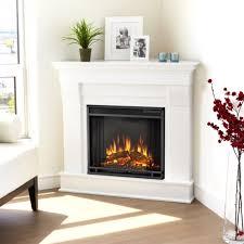Decorations:Elegant White Interior Design With Corner Fireplace Decor Idea  Futuristic White Corner Fireplace Decor