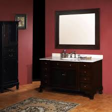 dark brown high gloss finish oak wood cabinet storage for bathroom vanity with white ceramic countertop