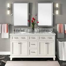 double vanity lighting. Grey Accent Wall Design With Double Sink Vanity Cabinet And Bathroom Lighting Plus Wood Flooring