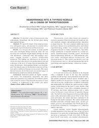 pdf hemorrhage into a thyroid nodule as a cause of thyrotoxicosis