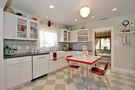 Retro Kitchen Furniture Retro Kitchen Design Brown Polished Hardwood Legs Soft Blue