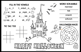 Chalk couture diy with dollar tree placemat. Halloween Placemat For Kids Free Holiday Printable Activity