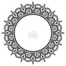Vektor Mehndi Indická Henna Tetování Kulatý Vzor 72676343