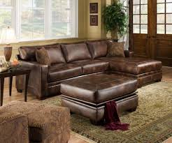 brown leather sofa with ethan allen furniture and brown leather ottoman plus feizy rug for modern