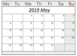 May Blank Calendars Printable May 2019 Calendar With Holidays Pdf Excel Word