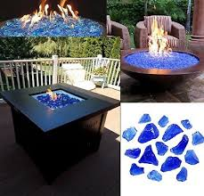 fire pit glass rocks for outdoor propane gas fireplace ice crystals 10 lbs