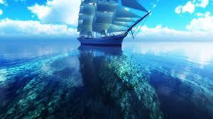 Wallpaper 3D sailboat blue sea ...
