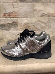 chanel trainers womens. chanel crackle leather metallic trainer sneaker silver athletic trainers womens