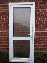 white upvc double glazed glass door