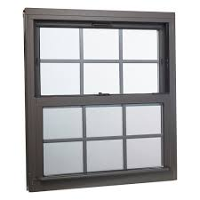 double hung aluminum window with low e glass grids and screen brown