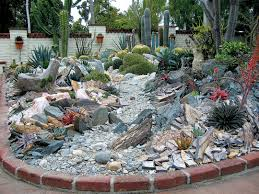 stone canyons allow visual and maintenance access into the larger beds of succulents