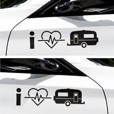 2x I Love Wohnwagen Camping Herzschlag Seitenaufkleber Autoaufkleber