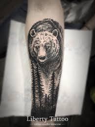 тату медведь в лесу фото медведь тату татуировки медведя и