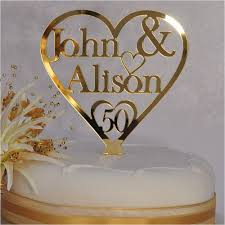 Golden Wedding Anniversary Cake Toppers Personalised Names Heart