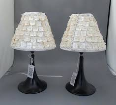 lamp shades tea light lamps with shades led sea shell lamp new pair of two include