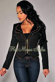 black jacket gold zipper womens leather with