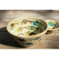 enamelled pottery bowl with fish pattern handmade in iran