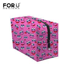 neceser makeup box zipper women luxury cosmetic bag case smile emoji print make up organizer toiletry