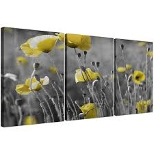 set of poppies canvas wall art living room perfect yellow canvas wall art