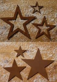 Sterne 3er Set Christbaumschmuck Anhänger Metall Edelrost
