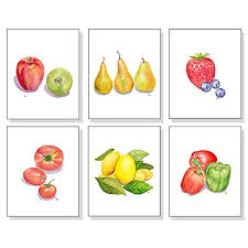 >amazon fruit art vegetable prints set of 6 kitchen wall art  fruit art vegetable prints set of 6 kitchen wall art kitchen decor apple pear