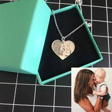 personalized photo necklace heart shape