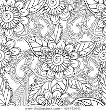 Coloring Pages Adults Seamless Pattern Henna Mehndi Stock Vector