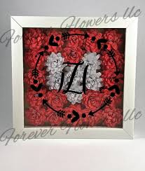 a white shadow box containing hand made white and red paper flowers vinyl ed with one of the three choices monogram with arrow and heart out line mine  on 3d paper flower shadow box wall art with adorable 8x8 shadow box filled with 3d flowers then topped with