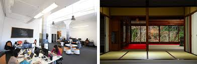 japanese office design. Open Space Office At Btrax (left) [Image Credit: Tim Wagner] And Traditional Japanese Interior (right) Sergii Rudiuk/Shutterstock] Design