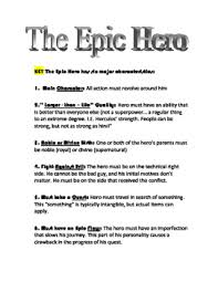 Beowulf Characteristics Of An Epic Hero Chart The Epic Hero Worksheets Teaching Resources Teachers Pay