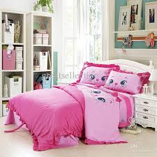 kid full size bed sets girls bedroom decoration with embroidered cat pink bedding sets
