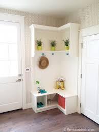 corner furniture. Small Corner Mudroom. White With Pops Of Color Furniture