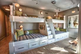Bedroom. white wooden Homemade Bunk Beds with four bed and striped bedsheet  also white wooden