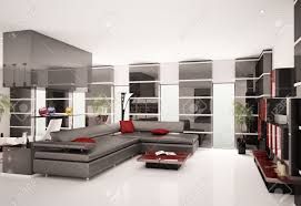 Living Room With Leather Sofa Modern Living Room With Black Leather Sofa Interior 3d Render