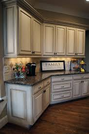 cabinets kitchen painted distressed sunset glaze finish cabinet off white distressed kitchen cabinets