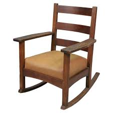 antique arts and crafts charles stickley rocking chair with new leather seat for