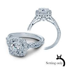 classic diamond halo engagement ring setting 14k white gold
