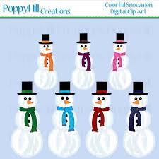 Instant Download Printable Colorful Snowman Digital Clip Art For Commercial And Personal Use Digital Design