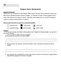 Pedigree Chart Worksheet With Answer Key Fillable Online Pedigree Charts Worksheet S Fax Email Print