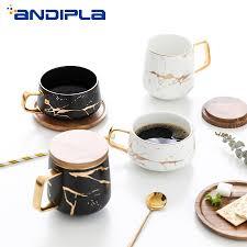 ins Nordic <b>Style</b> Creative <b>Marble</b> Texture Ceramic Mug Gold <b>Plated</b> ...