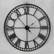 extra large 80cm black metal wall clock