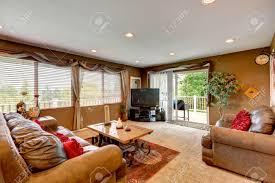 Living Room Set With Free Tv Elegant Brown Tones Living Room With Leather Furniture Set