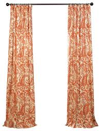 edina paisley cotton single panel curtain rust contemporary curtains