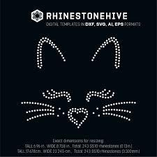 Cricut Design Space Rhinestone Template Cat Face Rhinestone Template Digital Download Ai Svg Eps