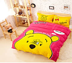 yellow pink winnie the pooh bed set cover for nice gilrs bedrooms design ideas with wood