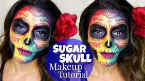 colorful sugar skull makeup tutorial dia de los muertos you