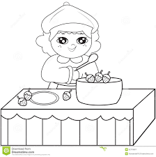 Small Picture Girl Cooking Coloring Page Stock Illustration Image 52718607