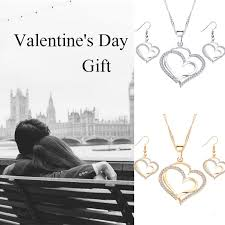 2 <b>Pcs</b>/set <b>Romantic</b> Fashion Heart Pendant Necklace Earring <b>Peach</b> ...