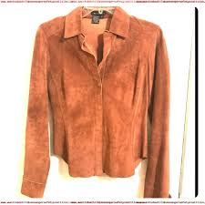 bcbgmaxazria reddish brown bcbg leather shirt jacket on down top size 4 s tradesy