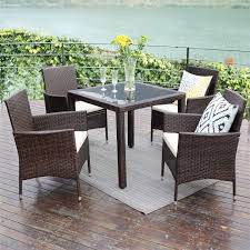 Wisteria lane outdoor patio dining table set 5 piece glassed dining table chairs sectional furniture conversation set cushioned garden lawn bar furniture